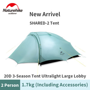Naturehike Nieuwe Gedeeld-2 Ultralight Outdoor Camping Tent 20D Enkele Silicium Nylon Waterdichte PU3000 + Kleur Ase Groene Tent