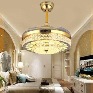 IKVVT европейского стиля Вентиляторы потолочных светильников LED Luxury Кристалл Невидимые вентиляторы Свет для Living Dining Спальни с дистанционным управлением