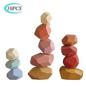 Legno pietra per bambini colorato Jenga Building Block giocattolo educativo creativo Nordic Style Stacking Gioco dell'arcobaleno giocattolo di legno regalo C0927