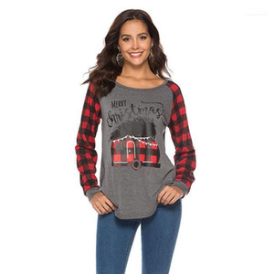 Merry Christmas Letters Printed Casual Long Sleeved Tops Women Autumn Plaids Scotland Tshirts
