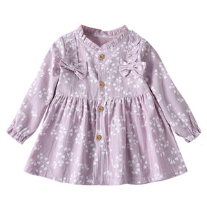 Excelent Clearance New summer babys Dress Toddler Baby Girls Long Sleeve Solid Ruched Floral Flower Bow Dressed Clothes Z0207