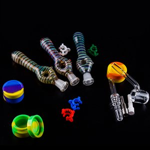 Portable Glass Water Pipe with Gr2 Titanium Nail or Quartz Ceramic Tip Concentrate Oil Rigs Mini Glass Bong NC kit