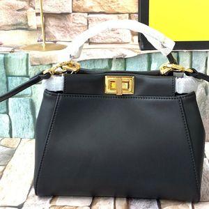 Bolsos de hombro del bolso de la mujer bolso de cuero genuino bolso de la manera de piezas de metal de la correa de hombro ajustable Llano Negro cerrojo hardware envío