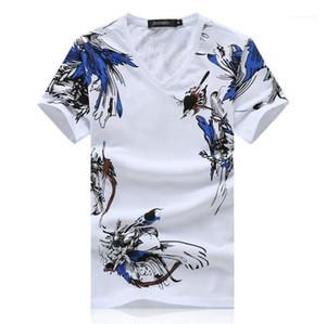 V Neck Fashion Boys Clothing Summer Mens Chinese Style Tshirts Bird Floral Printed Slim Male Tees Solid