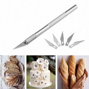 Esculpir pasta de goma Talla hornear los pasteles 6pcs Herramientas Herramientas de hojas de cuchillo de fruta pasta de azúcar que adorna las NkbG #