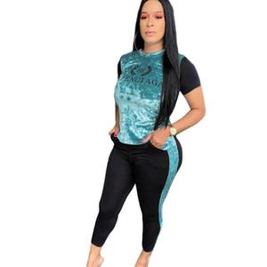 Longo empilhados Calças Ternos AMO 2 Parte das mulheres Tracksuits manga comprida Gola subida Cartas Ladies Casual Suits Esportes Descontraído Vestuário Womens