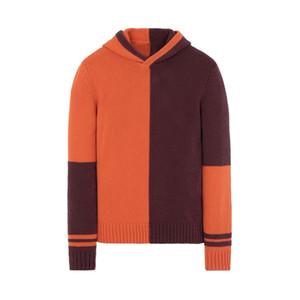 Nuovo arrivo cuciture a contrasto maglione mens incappucciati casuali Pullover motivo stampato con cappuccio di alta qualità per gli uomini 2 colori M-2XL