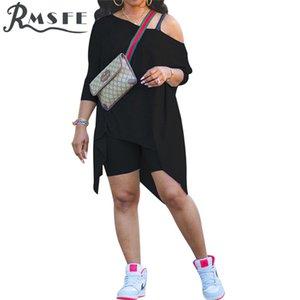 RMSFE 2020 Yaz Plaj Seksi Yaş Azaltma Iki Parçalı Set Katı Rahat Gevşek 2 Parça Set Kadın Kısa Kollu Üst ve Pantolon Setleri