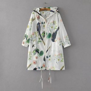 n0Cjj 9958 flores y pájaros de protección solar flor del pájaro ropa encapuchada D3117 9958 Flores y el sol pájaros protección impreso flor protector solar