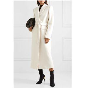 2020 New Winter Damen Wollmantel mit Schärpen beiläufige Single Button Weit taillierte Wollmischungen Jacke Overcoat Lady X-Lange Mäntel