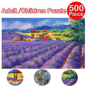 500 pieces Jigsaw Puzzle Lavender field Puzzles Educational Toys for Children Bedroom Decoration Sticker For adult kids 2020