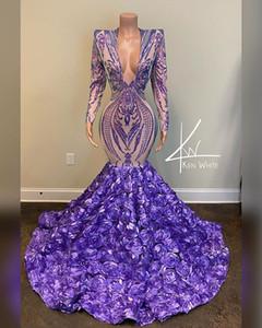 Lavande Pourpre sirène Soirée Pageant robes 2021 Real Image manches longues en dentelle florale Paillettes 3D Prom Tenue de soirée Robes Robes