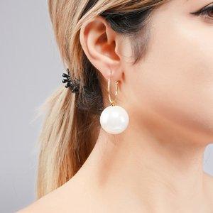 Wulibaby Big 3 couleur perle Boucles d'oreilles à 2020 Mode Femmes Rouge Blanc Champagne Boucles d'oreilles Boule Cadeaux Nouvel An