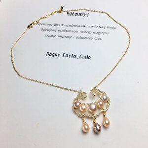 Factory direct selling natural freshwater pearl copper lock Pendant Fashion retro gold injection color accessories handmade necklace jewelry