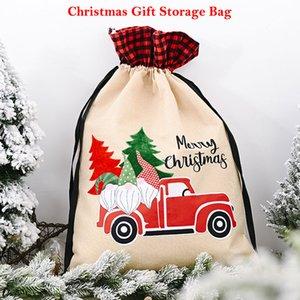 2020 New Christmas Linen Bag Storage Sack with Drawstring Present Bag Christmas Gift Storage 70x45cm