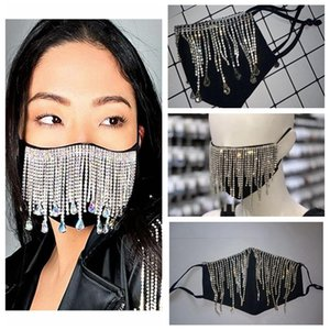 Bling Bling Rhinestone face mask fashion crystal diamond reusable cloth face mouth cover adult nightclub  mask YYA484