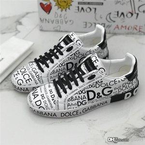 Graffiti Sn uomini della scarpa da tennis Portofino Stampato Napa Vitello Sneakers Designer di lusso scarpe piane Lace Up Tag decorazioni in gomma Suola Uomo