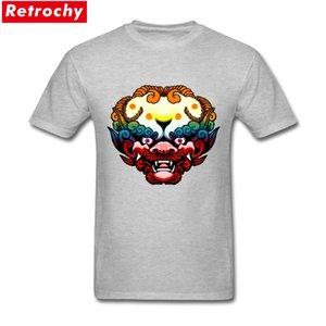 Psychedelische Foo Dog Emblem Online-T-Shirts Camisa Masculina T-Shirts Men Kurzarm Vatertags 3xl