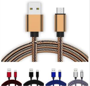 Örgülü Kumaş Metal Alaşım Hızlı Şarj C Tipi Mikro USB Kablo Tel İçin Samsung S8 S10 Not 8 Huawei Xiaomi 3 ft 6FT 10ft