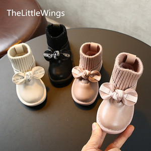 Autumn and winter 0-1-2-3 years old children's sports shoes non-slip girls casual bowknot Keep warm cotton shoes