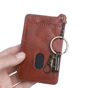Fashion New Card Holder for Men Women Retro Business Card Bag Quality PU Leather ID Holders with Key Ring Keychain