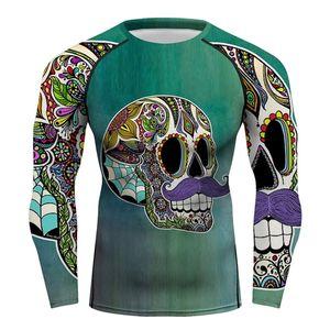 Men Full Printing Floral Skull T-shirt Long Sleeve Sportswear Rash Guards Men Workout Cycling Running MMA BJJ NO GI Tee Tops 0921