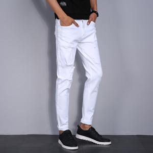 أزياء الأبيض ممزق جينز للرجال نحيل يؤلمها الدينيم ركض مع مصمم ثقوب ممزقة دمرت جان سروال ذكر العلامة التجارية