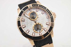 ~ 2020 Marca Top 265 -90 -3t / 91 1846 pulseira de borracha 42 milímetros Diver Series Transparent automtic Mecânica Rosa de Ouro Branco Dial Sports Watch