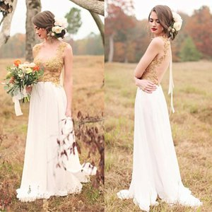 Chiffon Scoop Neckline A-Line Wedding Dresses With Gold Beaded Lace Appliques Wedding Bridal Gowns Pregnant Bridal Dresses