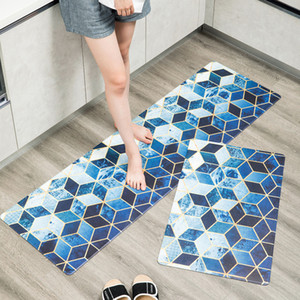 Nordic modern geometric carpet wear-resistant non-slip mats, household waterproof and oil-proof rug, PVC leather kitchen mats
