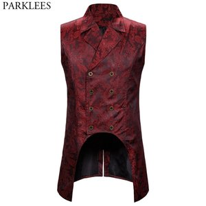 Wine Red Paisley Jacquard Long Vest Men Double Breasted Lapel Brocade Vest Waistcoat Mens Gothic Steampunk Sleeveless Tailcoat 200922