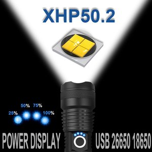 Most Powerful XHP50.2 LED XHP50 Rechargeable USB Zoomable Tactical Torch 18650 26650 Hunting Lamp for Camping