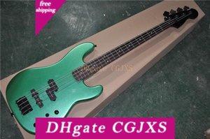 4 Strings Metallic Green Body Electric Гитара с фиксированным мостом, черные Тюнерами и мостом, может быть настроена
