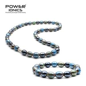 New Power Ionics classique Santé Tourmaline Mixte Perles Bracelet extensible Collier naturel Wristband Energy Balance cadeau pour les amoureux Y200730