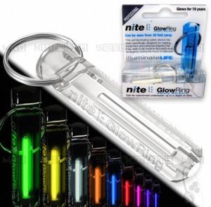 Commercio all'ingrosso Crystal Clear Nite Tritium Glowring chiave di Keychain Fob luce di notte automatico self luminosa fluorescente idromassaggio Tritium 5sXt #