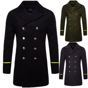 British Style Winter Coat Men 2020 Brand New Double Breasted Trench Coat Mens Slim Fit Striped Overcoat Jackets Manteau Homme