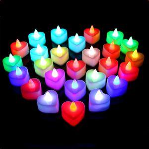 24 PCS / SET LED LED de la luz de la vela Fiesta de boda Cumpleaños Fiesta de Halloween Fiesta decorativa luces redondas Flash en forma de corazón T500111