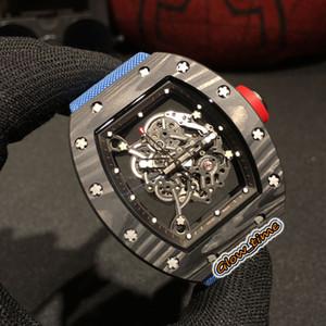 Best Edition RM 055 scheletro quadrante in fibra di carbonio NTPT Caso Giappone Miyota automatico RM055 Mens Watch Nylon Strap Sapphire Sport Uomo Orologi