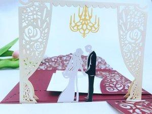 Ücretsiz Kargo 1x 3D YUKARI Kart Burgundy 3 Katlama Cep Düğün Davetiye Lazer kesim Davet zarf ile Tebrik tri