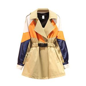 2020 Spring Autumn New Windbreaker Women Hooded Outwear Loose Plus size Trench Coat Women Wild Casual ladies tops Tide 3XL D3360