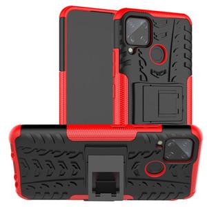 Armure Phone Cases Pour Realme C11 C2 C3 dur C15 Housse TPU silicone hybride protection en caoutchouc Pied Realme 3 5 6 Pro 6i XT Reno 2 Cover