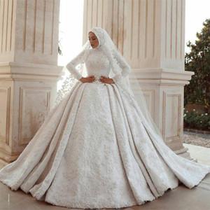 Middle East Muslim Wedding Dresses with Veil 2021 New Plus Size Bridal Gowns Long Sleeves Lace Appliqued Elegant vestido de novia