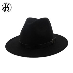FS Black Red Wool Felt Fedora British Hats For Women Elegant Classic Men Royal Vintage Top Hat Bowler Cap With Leather Belt Fall