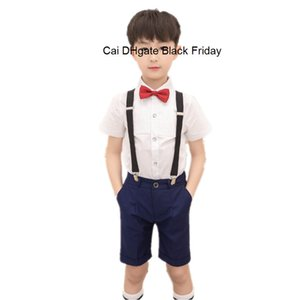 School Kids Performance Uniforms Children Girls Boys Wedding Shirt Pants Skirt Set With Bowtie Socks Kids Formal Clothes F278
