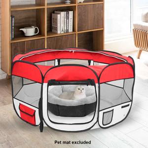 45inch dobrável portátil Crate Cat Dog Fence 600D Oxford pano Mesh Pet Playpen com oito painéis Pet filhote de cachorro macio Tent