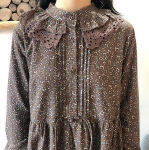 MFgZk MSy1Z caída del 20 japonés vestido de costura de Corea y de doble capa dOll Gira nueva del estilo del algodón del cordón del collar de flores y ropa de la falda de lino dre