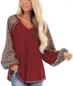 Leopard Printed фонарики рукав Lose Топов осени Мода женщины Тис Осень Женщина дизайнер Tshirt вскользь