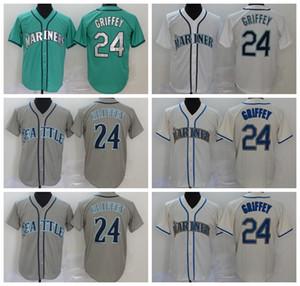 Мужчины 2020 Бейсбол 24 Кен Гриффи Джерси прошитой Flexbase Охладить Base Home Зеленый Серый Белый Бежевый цвет команды дышащий верх / Хорошее качество