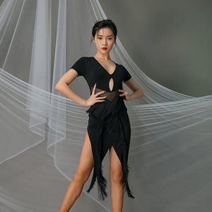 New Modern Ballroom Dance costume femminile See Through frangia pratica Abito Latin Dance performance Abbigliamento Rumba Outfit VO986