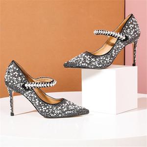 Marca scarpe di cristallo di nozze per le donne sexy degli alti talloni a punta Pearl Dress donne pompa pattini di cuoio genuini di alta qualità